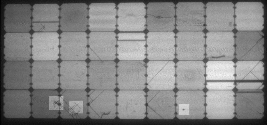 Elektrolumineszenz-Aufnahme des leicht belasteten flexiblen Solarmoduls des chinesischen Mitbewerbers