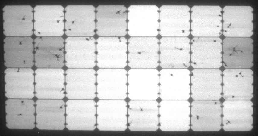 Elektrolumineszenz-Aufnahme des flexiblen Solbian SP Solarmoduls vor dem Winter